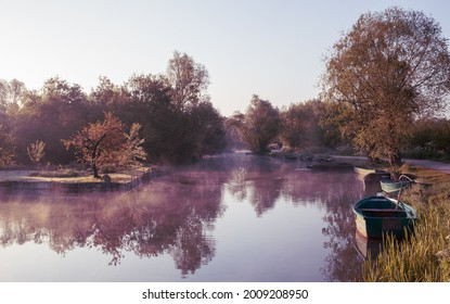 River at dawn in the marshes of Bourges, Centre-Val de Loire, France