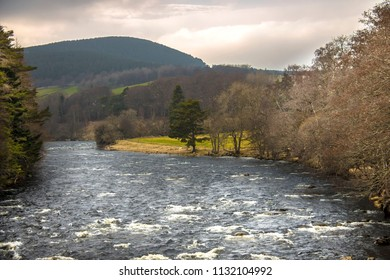 River Dee at Balmoral in Royal Deeside, Ballater, Aberdeenshire, Scotland, United Kingdom.