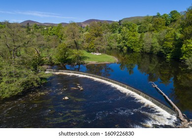 River Dee and Horseshoe Falls. Views from the air above the river.