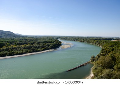 River in Devin, confluence of Donau and March, ice blue water