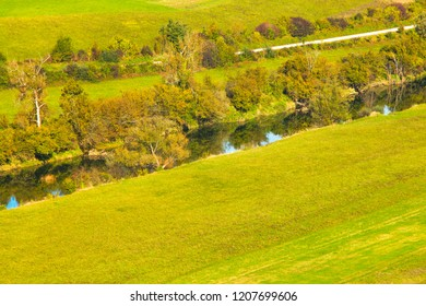 River Dobra valley in autumn, Croatia, countryside landscape, panoramic view, Karlovac county