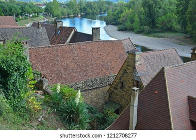 The River Dordogne in France at the village of Roque-Gageac, one of France's prettiest villages