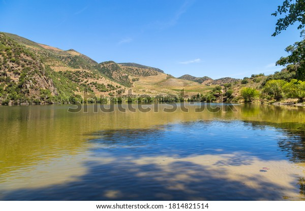 River Douro flowing in the north of Portugal. Douro Region.