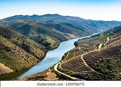 River Douro next to the mouth of the river Coa. Vila Nova de Foz Côa Municipality. Douro Region.
