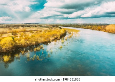River During Spring Flood Water. Aerial View Landscape. Top View Of Beautiful European Nature From High Attitude In Springtime Season.
