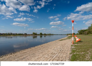 river elbe at low water level in spring time