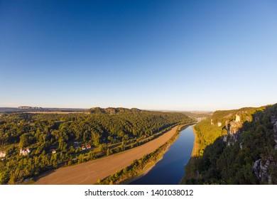 River Elbe at sunrise at famous Bastei, Rathen, Saxon Switzerland, Saxony, Germany