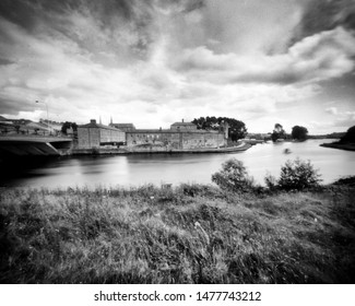 River Erne and Castle, Enniskillen, Fermanagh, Northern Ireland. This camera obscura photo is NOT sharp due to camera characteristic. Taken on analogue photographic large format negative film
