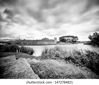 River Erne and Enniskillen Castle in the summer, Co. Fermanagh, Northern Ireland. This black and white camera obscura photo is NOT sharp due to camera characteristic