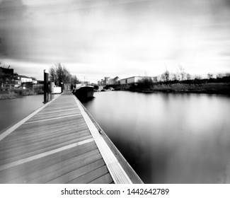 river erne, enniskillen, co fermanagh, this black and white photo is NOT sharp due to camera characteristic. Taken on analogue photographic medium format film with a pinhole camera.