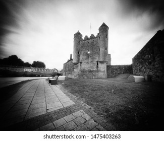 River Erne and Watergate, Enniskillen, Fermanagh, Ireland. This black and white camera obscura photo is NOT sharp due to camera characteristic. Taken on analogue photographic film with a professional