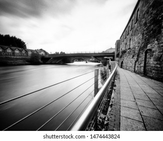 River Erne and West Bridge, Enniskillen,  Ireland. This black and white camera obscura photo is NOT sharp due to camera characteristic. Taken on analogue photographic large  format negative film