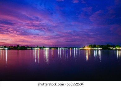 River evening at Suratthani in Thailand