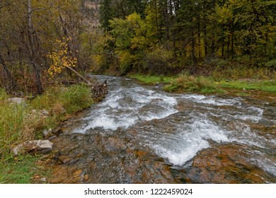 A river in a fall landscape in Spearfish Canyon, Black Hills, South Dakota