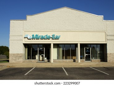 RIVER FALLS, WISCONSIN - OCTOBER 12, 2014: Miracle Ear retail storefront. Miracle Ear is a hearing aid company with numerous retail outlets.