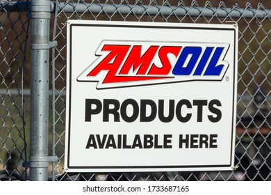 RIVER FALLS, WI/USA - May 2, 2020: Amsoil petroluem products sign and trademark logo.
