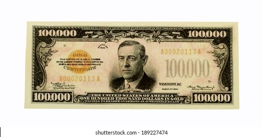 RIVER FALLS,WISCONSIN-APRIL 25, 2014: A One Hundred Thousand Dollar Gold Certificate. These notes were only used for transactions between Federal Reserve Banks.