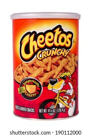 RIVER FALLS,WISCONSIN-APRIL 30, 2014: A can of Cheetos Crunchy cheese snacks. Cheetos are made by Frito-Lay Inc. of Plano,Texas.