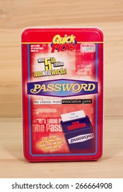 RIVER FALLS,WISCONSIN-APRIL5,2015: A Password Quick Picks game tin. This product is distributed by Endless Games Incorporated of South Amboy,New Jersey.