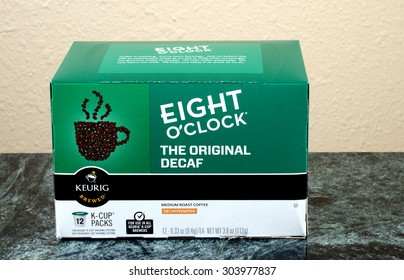RIVER FALLS,WISCONSIN-AUGUST 07,2015: A box of Keurig Eight O'Clock coffee packs. Keurig Green Mountain is headquartered in Waterbury,Vermont.