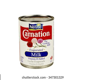 RIVER FALLS,WISCONSIN-DECEMBER 04,2015: A can of Carnation brand evaporated milk. Carnation is a product of Nestle.