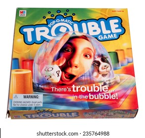 RIVER FALLS,WISCONSIN-DECEMBER 06,2014: The game of Trouble by Milton Bradley. Trouble was launched in the United States in Nineteen Sixty Five,