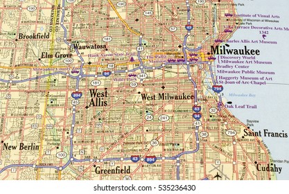 RIVER FALLS,WISCONSIN-DECEMBER 12,2016: A street map of Milwaukee,Wisconsin showing major freeway system and city routes.