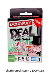 RIVER FALLS,WISCONSIN-DECEMBER 26,2014: Monopoly Deal card game from Parker Brothers. Parker Brothers have published more than Eighteen Hundred games.