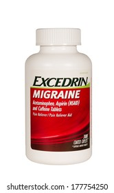 RIVER FALLS,WISCONSIN-FEBRUARY 19,2014: A bottle of Excedrin Migraine. Excedrin is a headache pain reliever produced by Novartis.