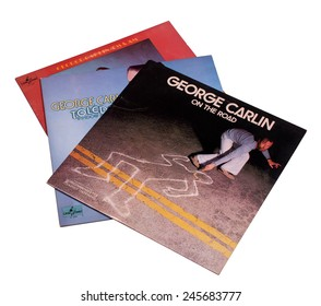 RIVER FALLS,WISCONSIN-JANUARY 20,2015: Three vintage George Carlin albums. George Carlin is regarded as one of the most influential comedians of all time,.