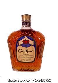 RIVER FALLS,WISCONSIN-JANUARY 21,2014: A bottle of Crown Royal whisky. Crown Royal is a blended Canadian whisky 40% alcohol by volume,80 proof.