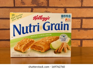 RIVER FALLS,WISCONSIN-JANUARY 5,2014: A box of Kelloggs Nutri-Grain cereal bars. Kelloggs was founded in 1906 by Will Keath Kellogg. The products are marketed in over 180 countries.