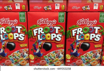 RIVER FALLS,WISCONSIN-JULY 08,2016: Several boxes of Kelloggs Froot Loops breakfast cereal.