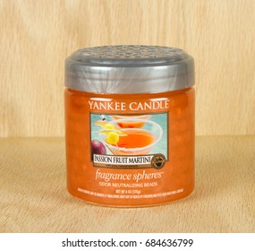 RIVER FALLS,WISCONSIN-JULY 26,2017: A yankee Candle fragrance beads jar in Passion Fruit Martini fragrance.