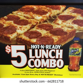 RIVER FALLS,WISCONSIN-JUNE 18,2017: An advertisement for Little Caesar's pizza lunch combo.