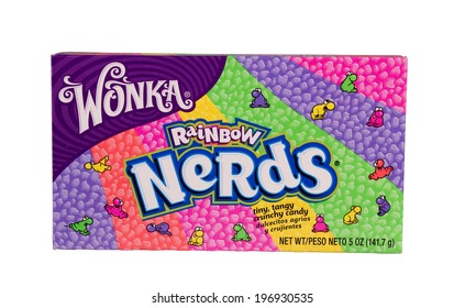 RIVER FALLS,WISCONSIN-JUNE 2, 2014: A box of Wonka brand Nerds candy. This candy is a U.K. brand owned by Nestle Corporation.