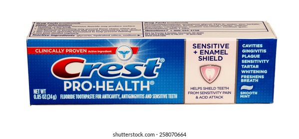 RIVER FALLS,WISCONSIN-MARCH 04,2015: A box of Crest Pro-Health toothpaste. Crest is distributed by Procter and Gamble.