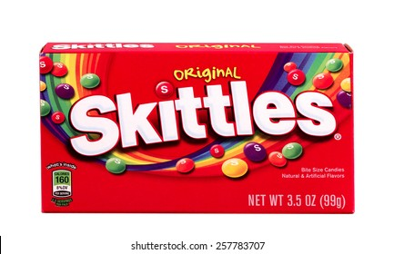 RIVER FALLS,WISCONSIN-MARCH 04,2015: A box of Skittles original flavored candies. Skittles are produced by William Wrigley Jr. Company.