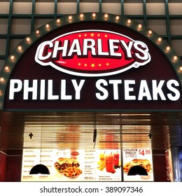 RIVER FALLS,WISCONSIN-MARCH 11,2016: The Charleys Philly Steaks sign and restaurant. Charleys is a division of Gosh Enterprises.