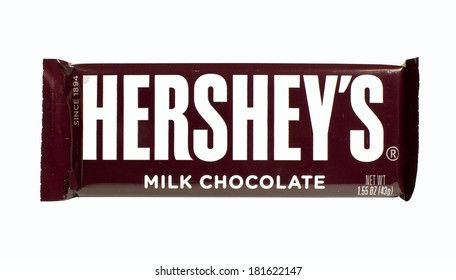 RIVER FALLS,WISCONSIN-MARCH 14, 2014: A single Hershey's Chocolate bar. Hershey's is the largest chocolate manufacturer in North America.