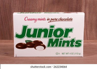 RIVER FALLS,WISCONSIN-MARCH 20,2015: A box of Junior Mints candy. This candy is produced by Tootsie Roll Industries.