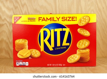 RIVER FALLS,WISCONSIN-MARCH 24,2017: A box of Ritz brand snack crackers with a wood background.