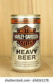 RIVER FALLS,WISCONSIN-MAY 04,2017: A vintage can of Miller brand Heavy Beer with a wood background