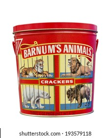 RIVER FALLS,WISCONSIN-MAY 19, 2014: A vintage tin of Barnum's Animal Crackers. This is a product of Nabisco of East Hanover,New Jersey.