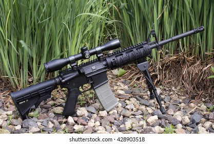 RIVER FALLS,WISCONSIN-MAY 29,2016: An AR-15 semi-auto rifle with Burris scope and tripod.