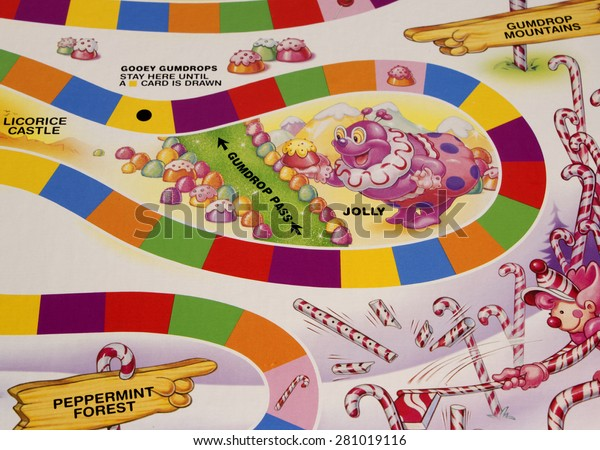 RIVER FALLS,WISCONSIN-MAY24,2015: A section of the Candy Land game board featuring Jolly the Clown. Candy Land was first published in Nineteen Forty Nine.