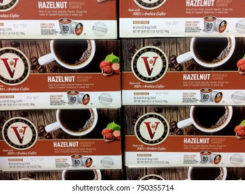 RIVER FALLS,WISCONSIN-NOVEMBER 07,2017: Several boxes of Victor Allen's brand hazelnut flavored brew cups.