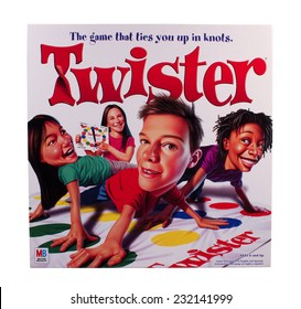 RIVER FALLS,WISCONSIN-NOVEMBER 21,2014: Twister game box by Milton Bradley. Twister was first introduced in Nineteen Sixty Six.