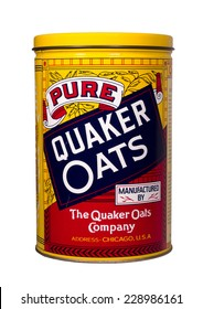 RIVER FALLS,WISCONSIN-NOVEMBER 8,2014: A vintage Quaker Oats tin. The Quaker Oats Company is based in Chicago,Illinois.