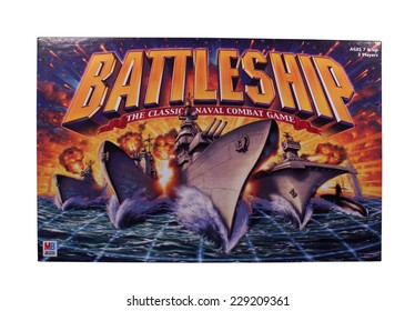 RIVER FALLS,WISCONSIN-NOVEMBER 9,2014: A Battleship board game by Milton Bradley. Battleship was released as a plastic board game in Nineteen Sixty Seven.